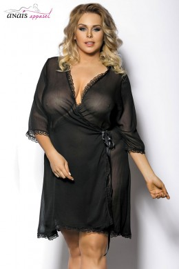 Islla - Tulle dressing gown with lace inserts.