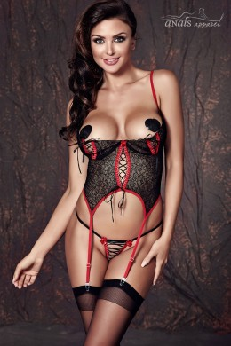 JADE - Half-bra lace guepiere with lacing and red trims.