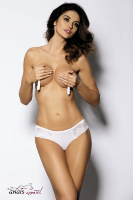 LEXI - White tulle briefs with floral lace inserts.