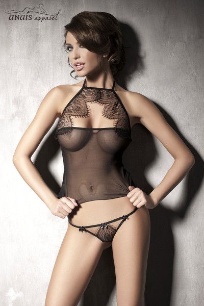 MYSTERIOUS - Complete 2 pcs top and thong in tulle and lace.