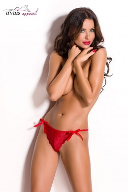 NESSA - Red lace thong with bows.