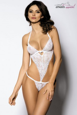 PENNY - White lace body with openings and pendant.