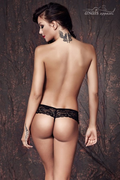SABRISSE - Thong in black shiny fabric with lace veil.