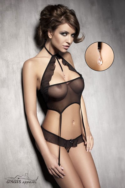 SPICE - Top with suspenders and pleated volants + G-string.