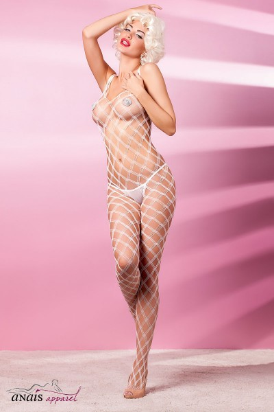 INTENSO - White wide mesh catsuit.