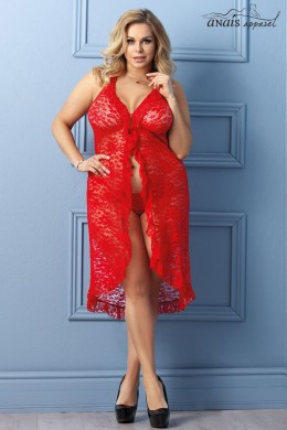 Dion - Long red lace nightgown with thong.