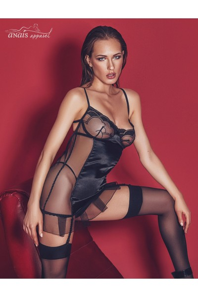 Luxx - Tulle and satin chemise with garters and thong.