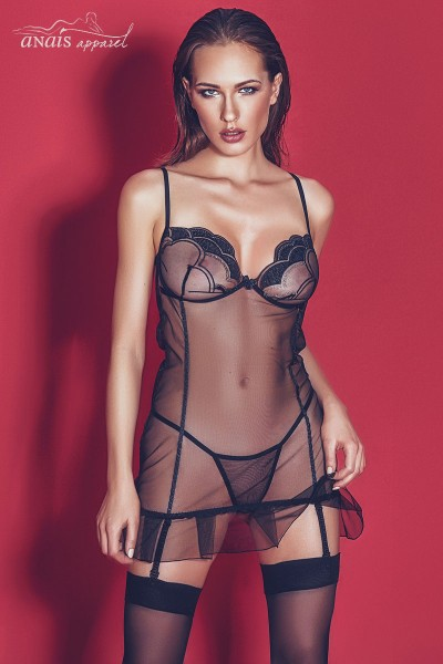 Palmina - Embroidered tulle chemise with garters and thong.