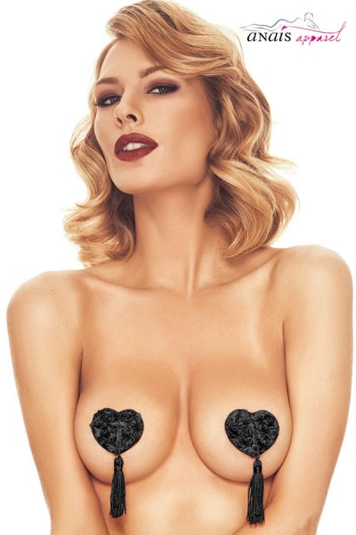 ISSY - Heart nipple covers with roses and fringes.