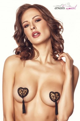 IVY - Heart-shaped leo nipple covers with fringes.