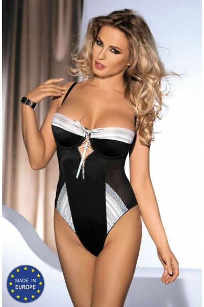 Body AMARONE in satin and tulle with lace inserts.