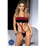 BERME body in black satin with lacing and red lace inserts.