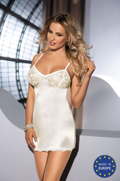 MALIKA ivory chemise with lace cups.