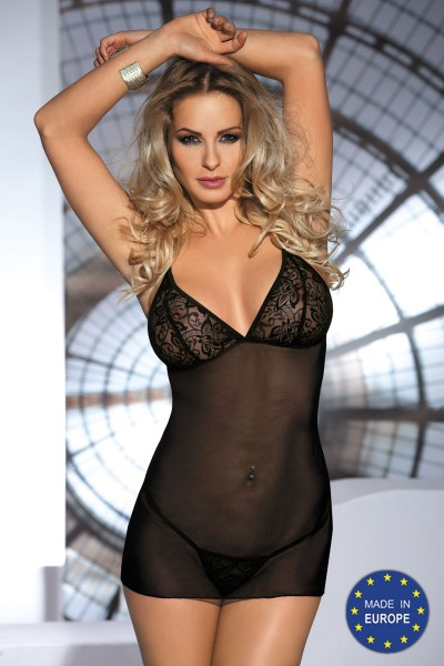 MILO black tulle chemise with lace.