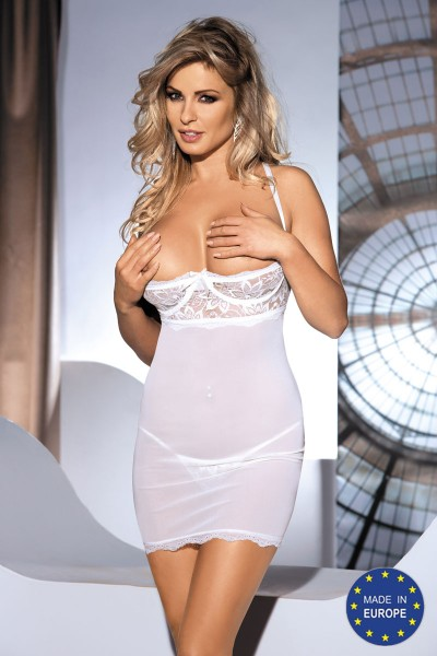 MONIC ivory chemise with lace shelf bra.