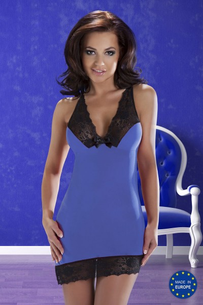 Cora Chemise: blue nightdress with black lace.