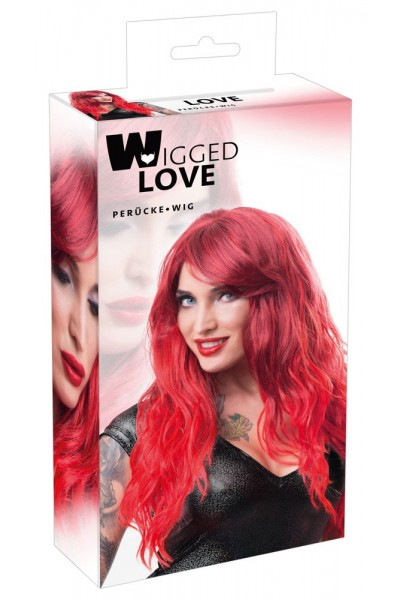 Long red wig with side fringe.
