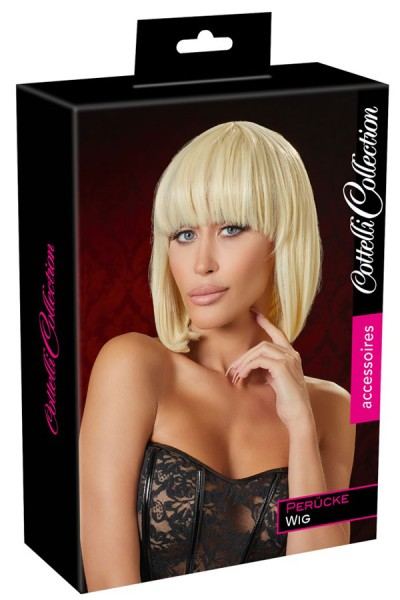 Blonde wig in bob style.