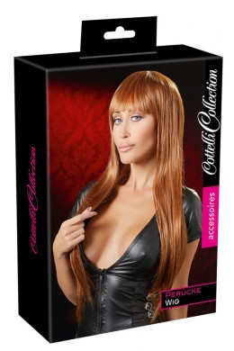 Long copper wig with fringe.