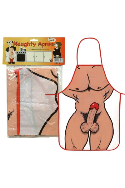 Funny apron with male body imprint.