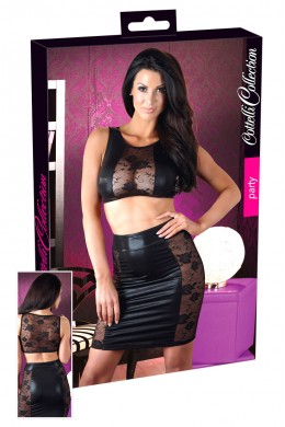 Top and Skirt wetlook with lace.