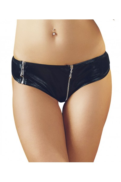 Black shiny panty with silver zip.