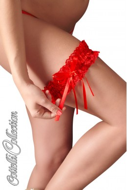 Red lace garter with satin lace.