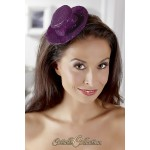 Small purple hat on a hair clip.
