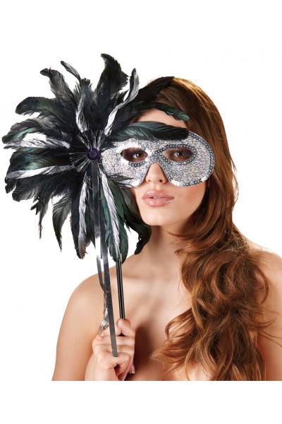 Eye mask with feathers and fixed on a wand.