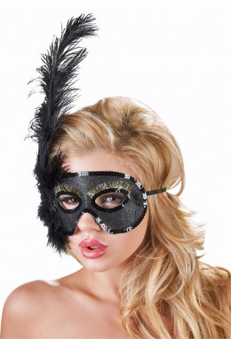 Black mask with sequinsm feathers and golden lashes.