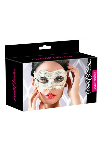 White mask with pearls.