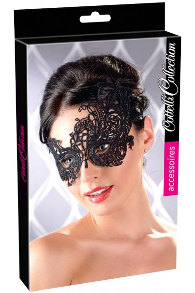 Embroidered asymmetric mask.