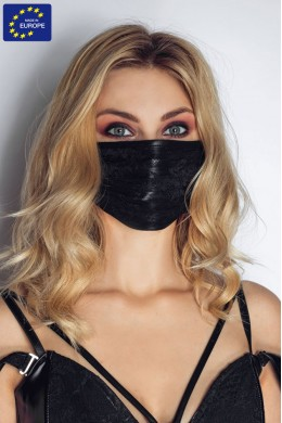Face mask with floral lace.