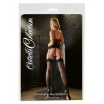 Sheer black stockings with back row.