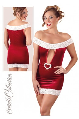 X-mas dress with white lace.