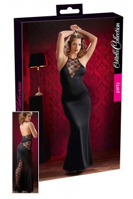 Long black dress with lace inserts.