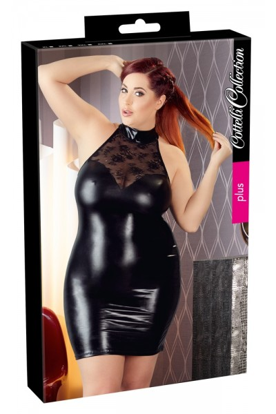 Wetlook mini dress with lace inserts.