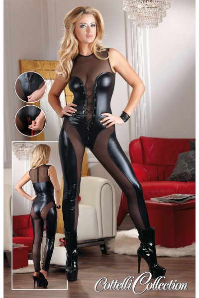 Wetlook jumpsuit with transparent inserts and zip.