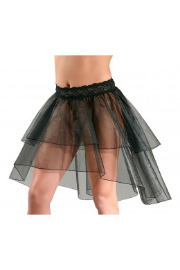 Black petticoat with tail and lace waistband.
