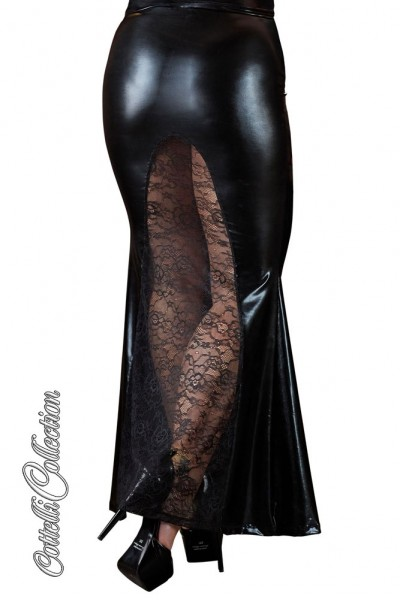 Long wetlook skirt with lace insert.