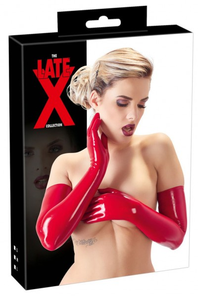 LATEX: latex gloves red.