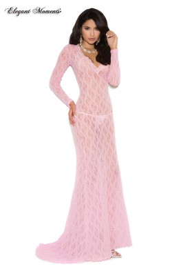 Long sleeve lace gown with tail.