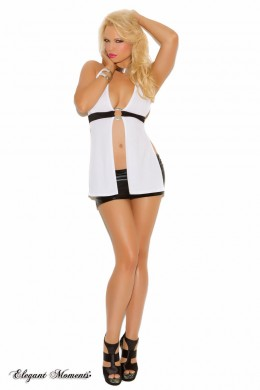 White halter style top with silver O ring