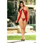 Mesh baby doll with lace trim and thong. L/XL