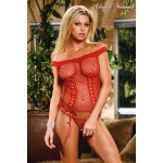 2 pcs net with front lacing and lace trim. Red.