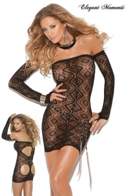 Bandeau dress with back openings and gloves.