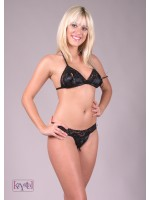 Krystal: lace and satin peek a boo bikini Demetra.
