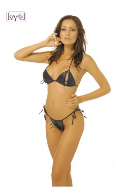 Krystal: open bikini Arianna made of faux leather.