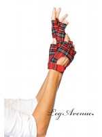 Leg Avenue: plaid fingerless gloves with velcro closure