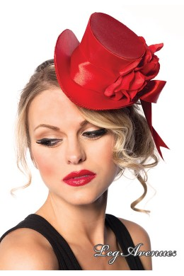 Leg Avenue:Satin top hat with flower and bow accent.